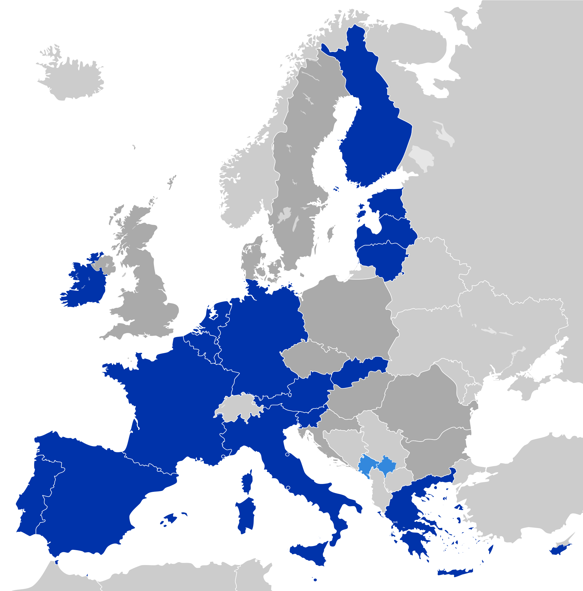 Euro zone map